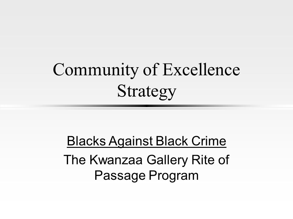 Community of Excellence Strategy Blacks Against Black Crime The Kwanzaa Gallery Rite of Passage Program