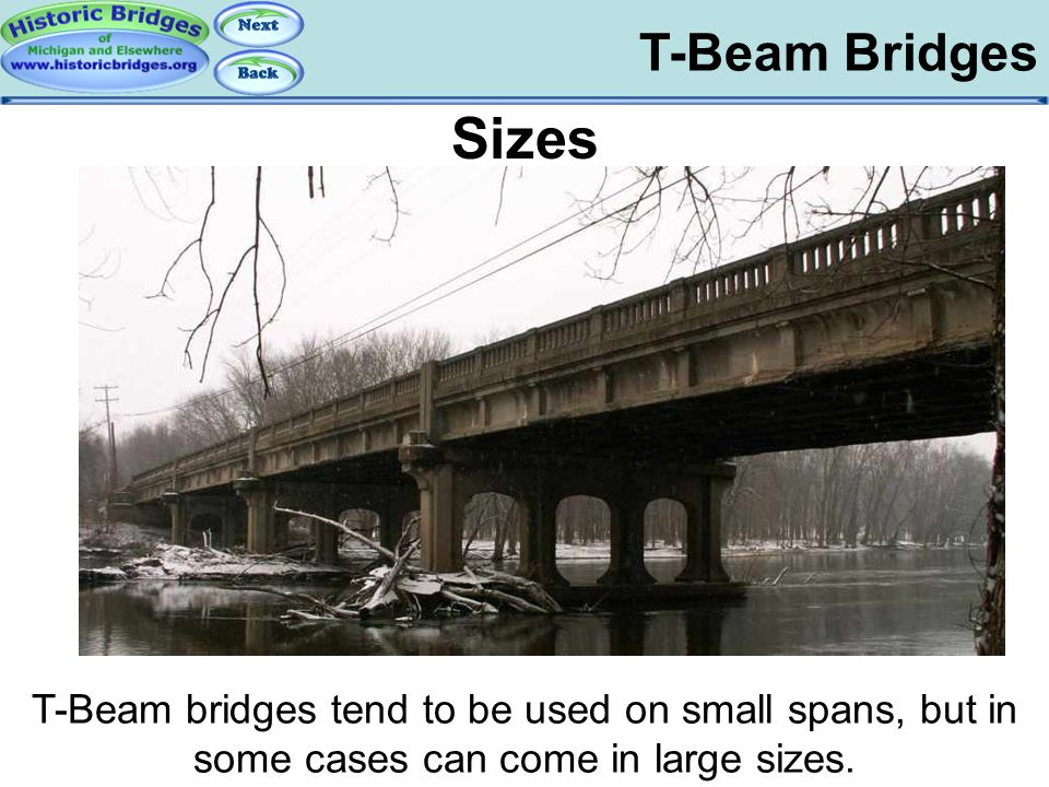 T-Beam Bridges Sizes T-Beam bridges tend to be used on small spans, but in some cases can come in large sizes. T-Beam Bridges - Basics