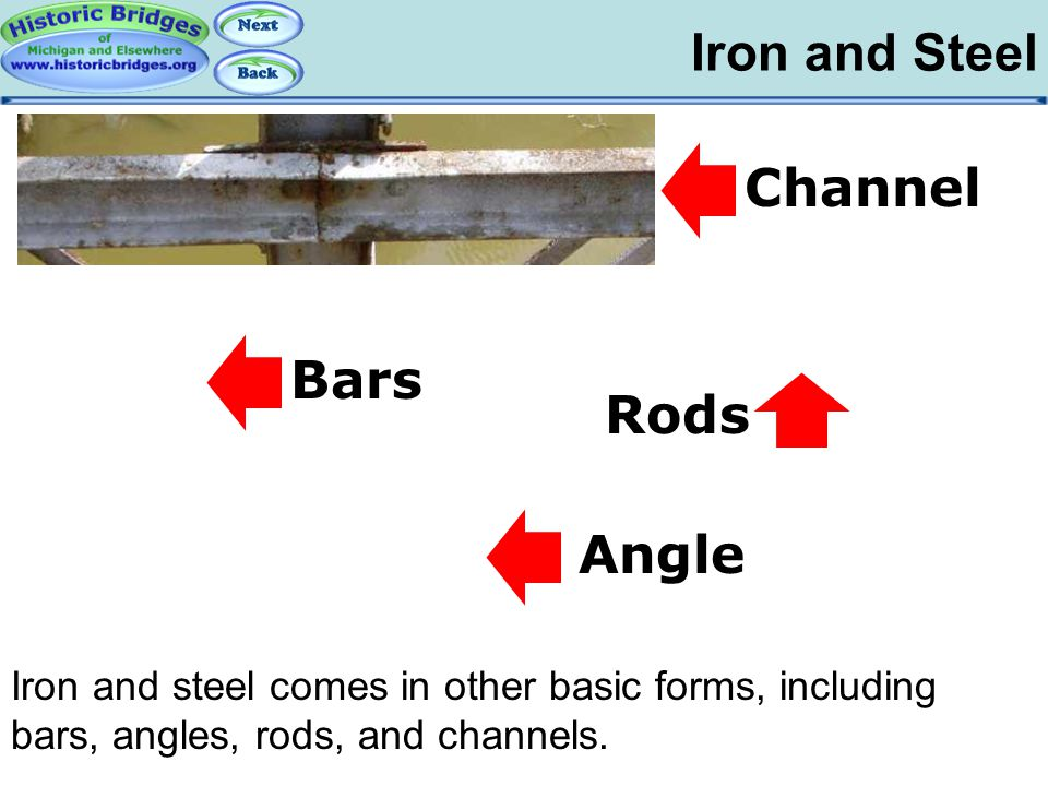 Iron and Steel Iron and Steel: Bars, Angles… Iron and steel comes in other basic forms, including bars, angles, rods, and channels. Channel Bars Angle