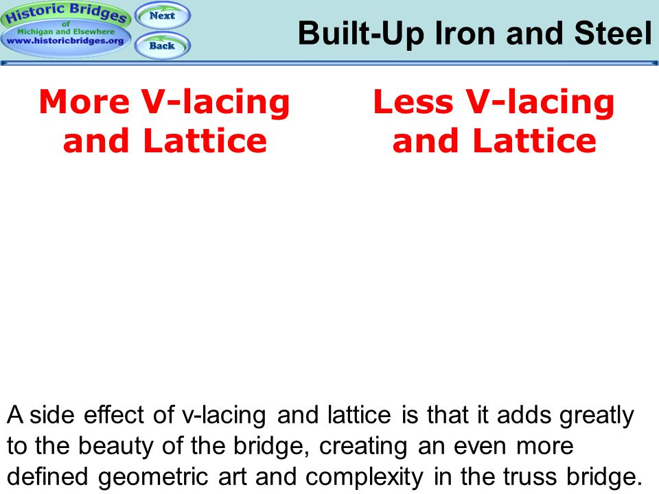 Built-Up Iron and Steel Iron and Steel – Built-Up A side effect of v-lacing and lattice is that it adds greatly to the beauty of the bridge, creating