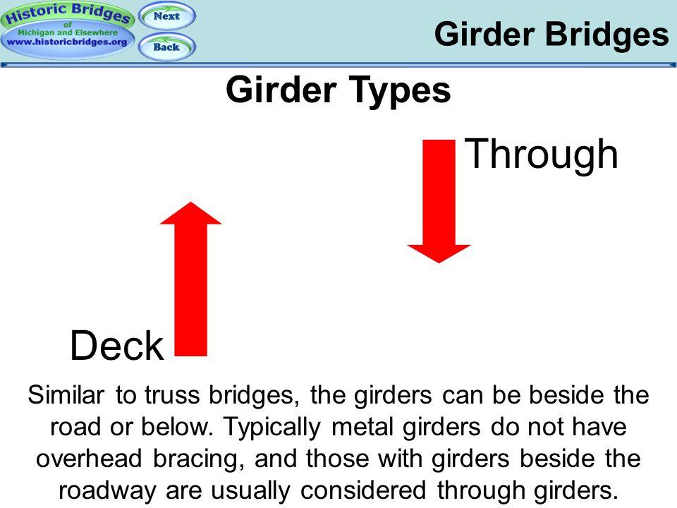 Girder Bridges Girder Types Similar to truss bridges, the girders can be beside the road or below. Typically metal girders do not have overhead bracin