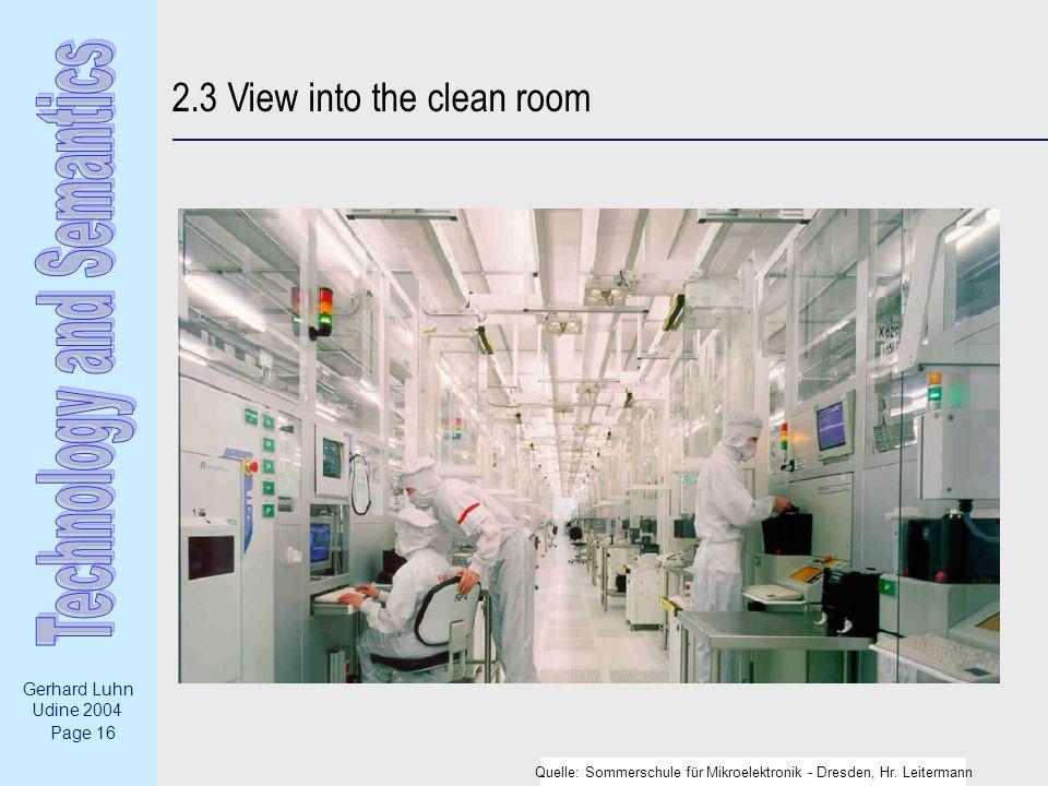 Page 16 Gerhard Luhn Udine 2004 2.3 View into the clean room Quelle: Sommerschule für Mikroelektronik - Dresden, Hr.
