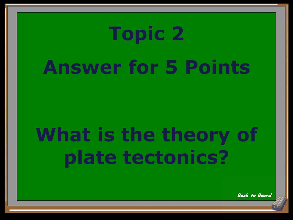 Topic 2 Question for 5 Points This states that Earth's plates move slowly in all directions.
