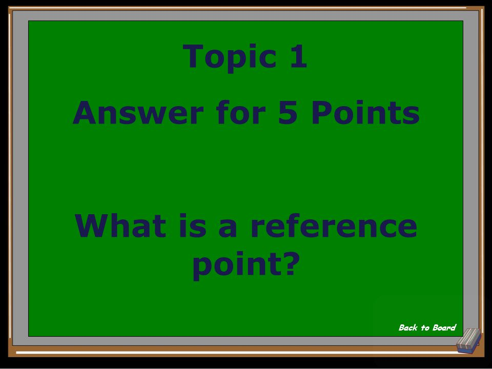 Topic 1 Question for 5 Points A place or object used for comparison to determine whether something is moving Show Answer