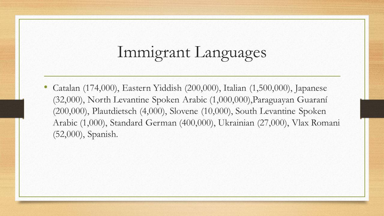 Immigrant Languages Catalan (174,000), Eastern Yiddish (200,000), Italian (1,500,000), Japanese (32,000), North Levantine Spoken Arabic (1,000,000),Pa