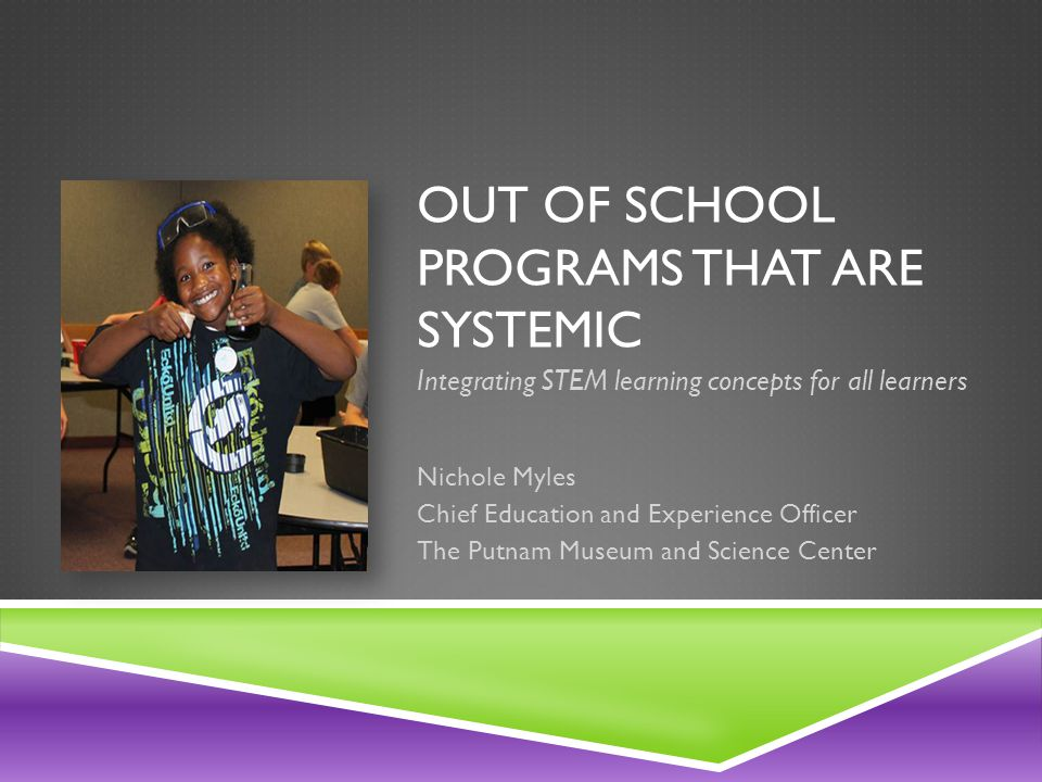 OUT OF SCHOOL PROGRAMS THAT ARE SYSTEMIC Integrating STEM learning concepts for all learners Nichole Myles Chief Education and Experience Officer The Putnam Museum and Science Center