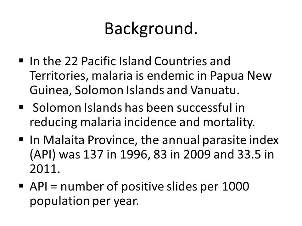 Discussion The data show a remarkable fall in the number of blood films positive for malaria, particularly for Pf.