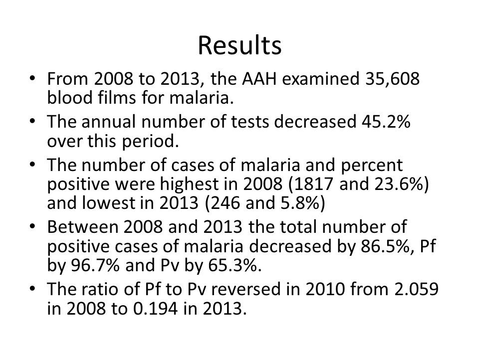 Results From 2008 to 2013, the AAH examined 35,608 blood films for malaria.
