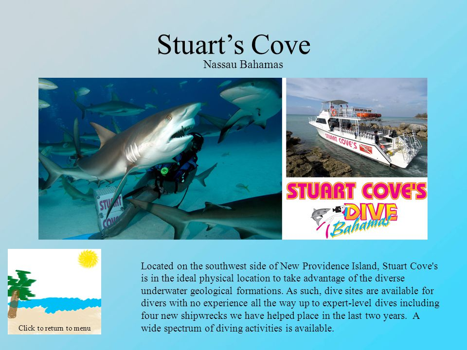 Stuart's Cove Click to return to menu Nassau Bahamas Located on the southwest side of New Providence Island, Stuart Cove s is in the ideal physical location to take advantage of the diverse underwater geological formations.