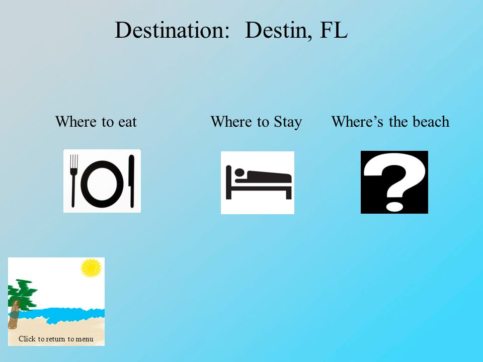 Click to return to menu Destination: Destin, FL Where to eatWhere to StayWhere's the beach