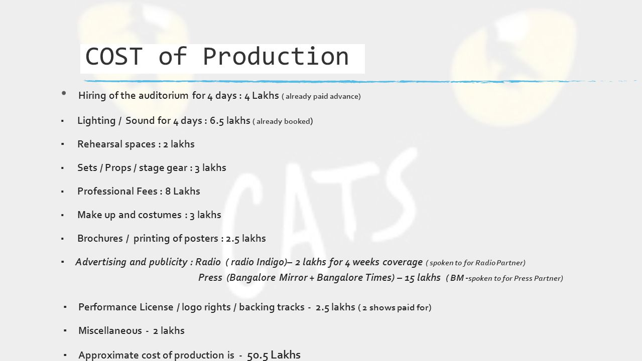 Hiring of the auditorium for 4 days : 4 Lakhs ( already paid advance) ▪ Lighting / Sound for 4 days : 6.5 lakhs ( already booked ) ▪ Rehearsal spaces