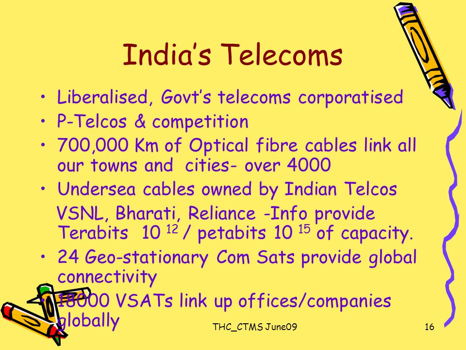 THC_CTMS June0916 India's Telecoms Liberalised, Govt's telecoms corporatised P-Telcos & competition 700,000 Km of Optical fibre cables link all our towns and cities- over 4000 Undersea cables owned by Indian Telcos VSNL, Bharati, Reliance -Info provide Terabits 10 12 / petabits 10 15 of capacity.
