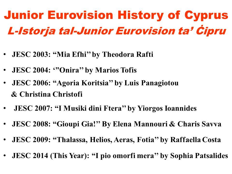 Junior Eurovision History of Cyprus L-Istorja tal-Junior Eurovision ta' Ċipru JESC 2003: Mia Efhi'' by Theodora Rafti JESC 2004: ' Onira'' by Marios Tofis JESC 2006: Agoria Koritsia'' by Luis Panagiotou & Christina Christofi JESC 2007: I Musiki dini Ftera'' by Yiorgos Ioannides JESC 2008: Gioupi Gia!'' By Elena Mannouri & Charis Savva JESC 2009: Thalassa, Helios, Aeras, Fotia'' by Raffaella Costa JESC 2014 (This Year): I pio omorfi mera'' by Sophia Patsalides