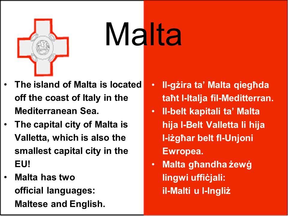 Il-gżira ta' Malta qiegħda taħt l-Italja fil-Meditterran.