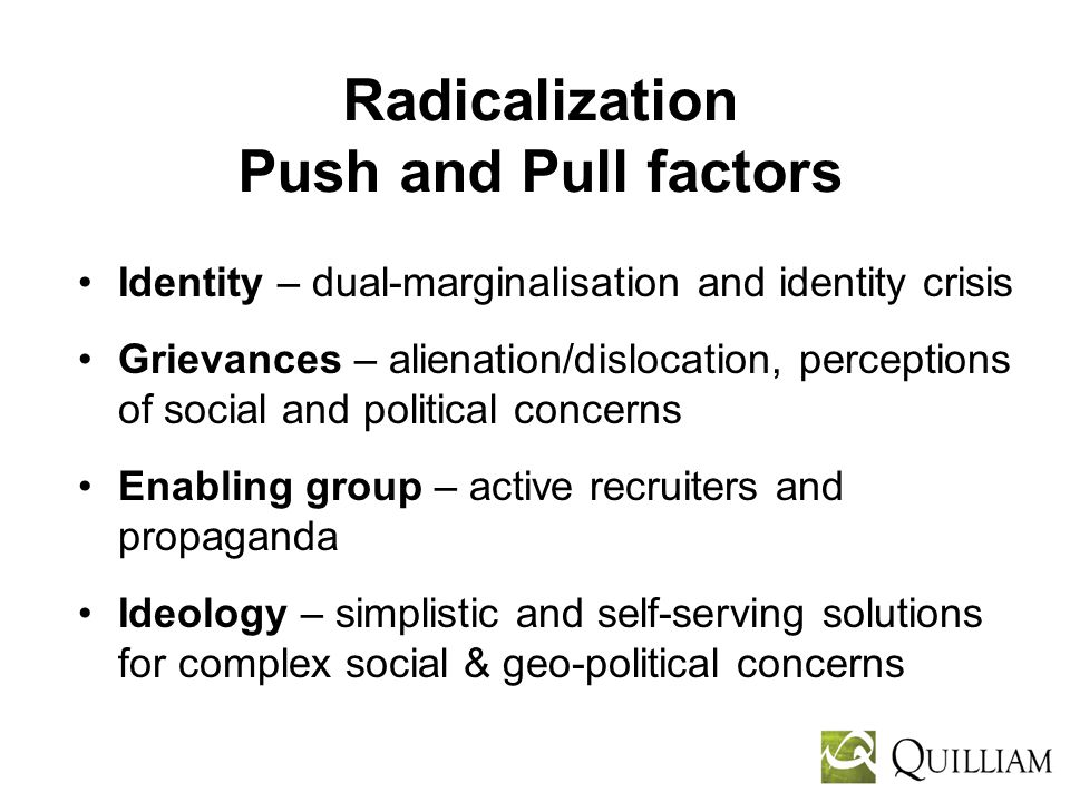 Radicalization Push and Pull factors Identity – dual-marginalisation and identity crisis Grievances – alienation/dislocation, perceptions of social and political concerns Enabling group – active recruiters and propaganda Ideology – simplistic and self-serving solutions for complex social & geo-political concerns
