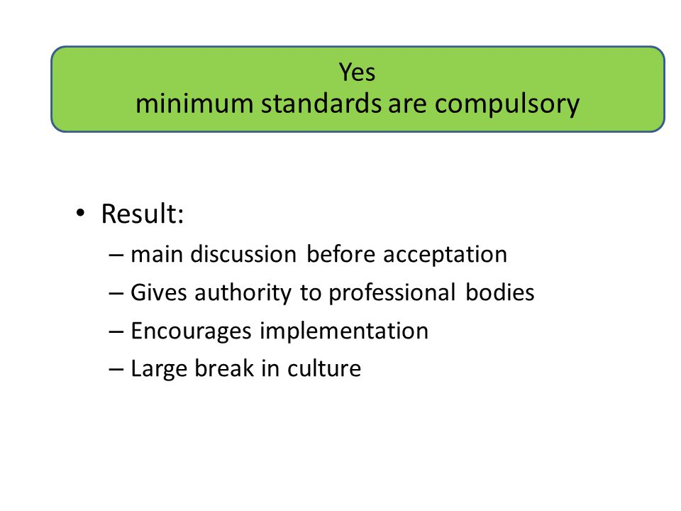 Yes minimum standards are compulsory Result: – main discussion before acceptation – Gives authority to professional bodies – Encourages implementation