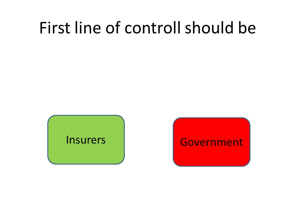 First line of controll should be Insurers Government