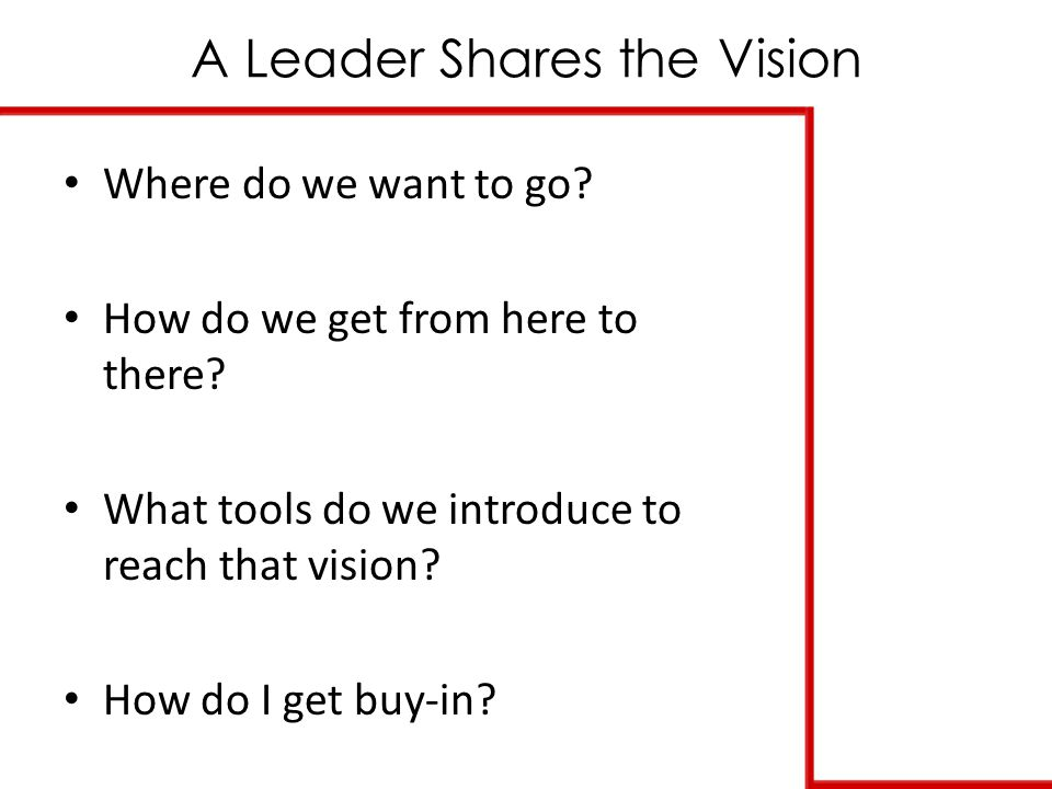 A Leader Shares the Vision Where do we want to go.