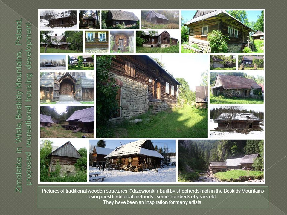Pictures of traditional wooden structures ('drzewionki') built by shepherds high in the Beskidy Mountains using most traditional methods - some hundreds of years old..