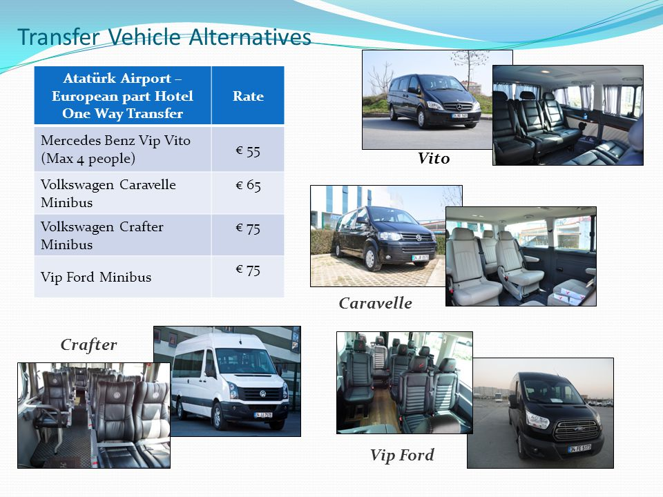 Transfer Vehicle Alternatives Caravelle Vito Crafter Atatürk Airport – European part Hotel One Way Transfer Rate Mercedes Benz Vip Vito (Max 4 people)