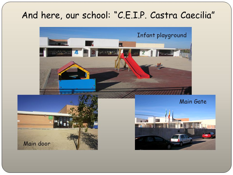 And here, our school: C.E.I.P. Castra Caecilia Infant playground Main door Main Gate