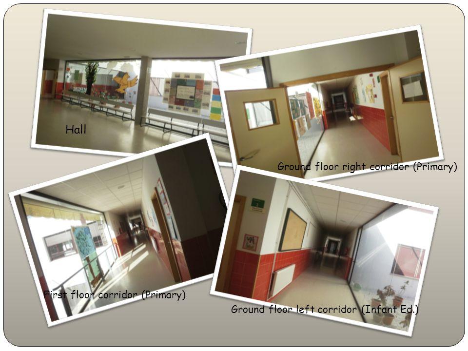 Hall Ground floor right corridor (Primary) Ground floor left corridor (Infant Ed.) First floor corridor (Primary)