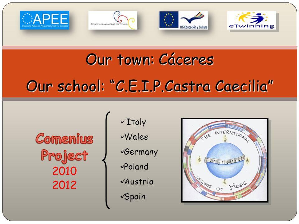 Italy Wales Germany Poland Austria Spain Our town: Cáceres Our school: C.E.I.P.Castra Caecilia