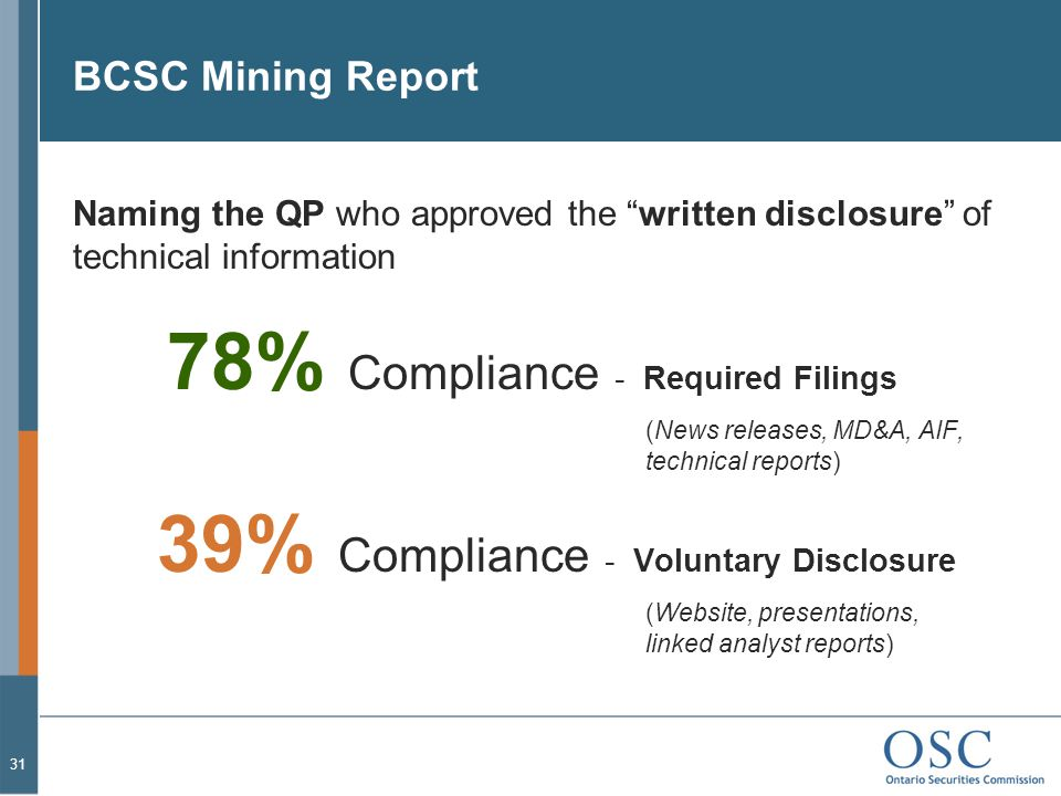 BCSC Mining Report 31 Naming the QP who approved the written disclosure of technical information 78% Compliance - Required Filings (News releases, MD&A, AIF, technical reports) 39% Compliance - Voluntary Disclosure (Website, presentations, linked analyst reports)