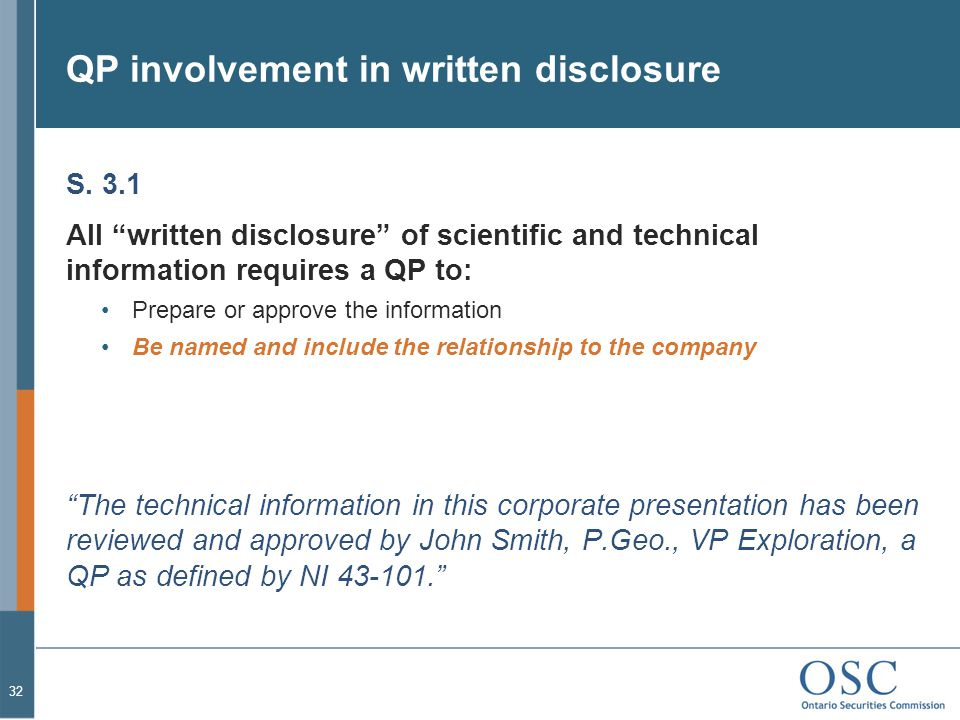 QP involvement in written disclosure S.
