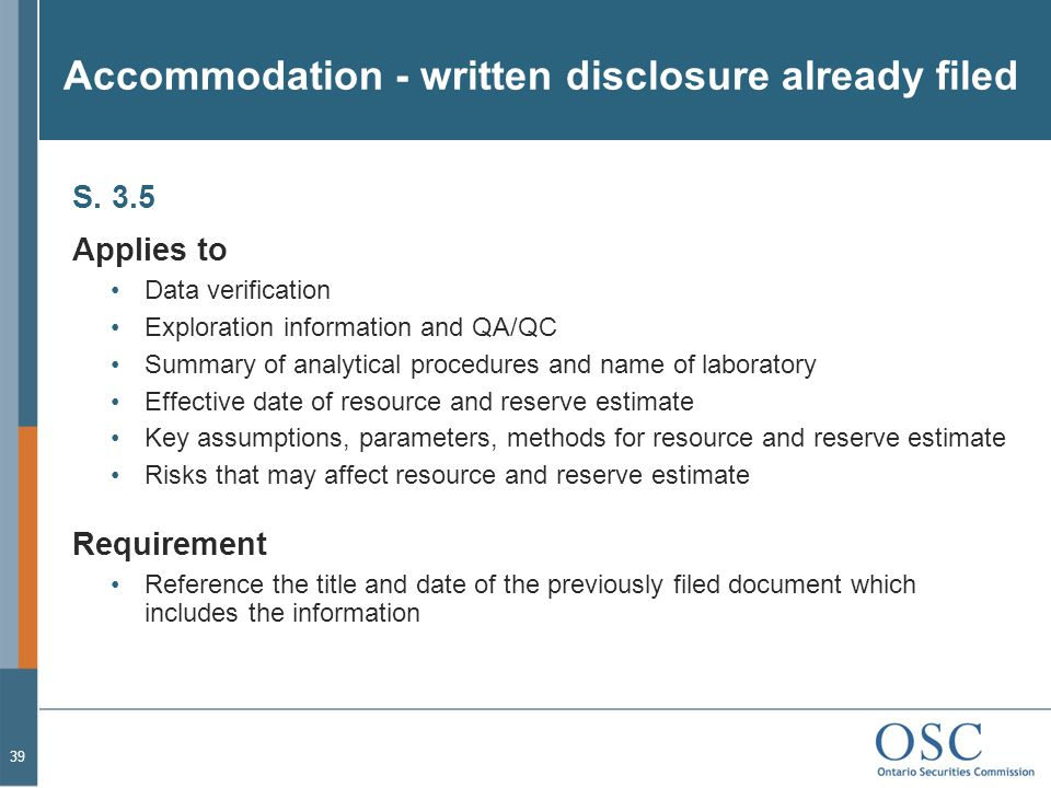Accommodation - written disclosure already filed S.