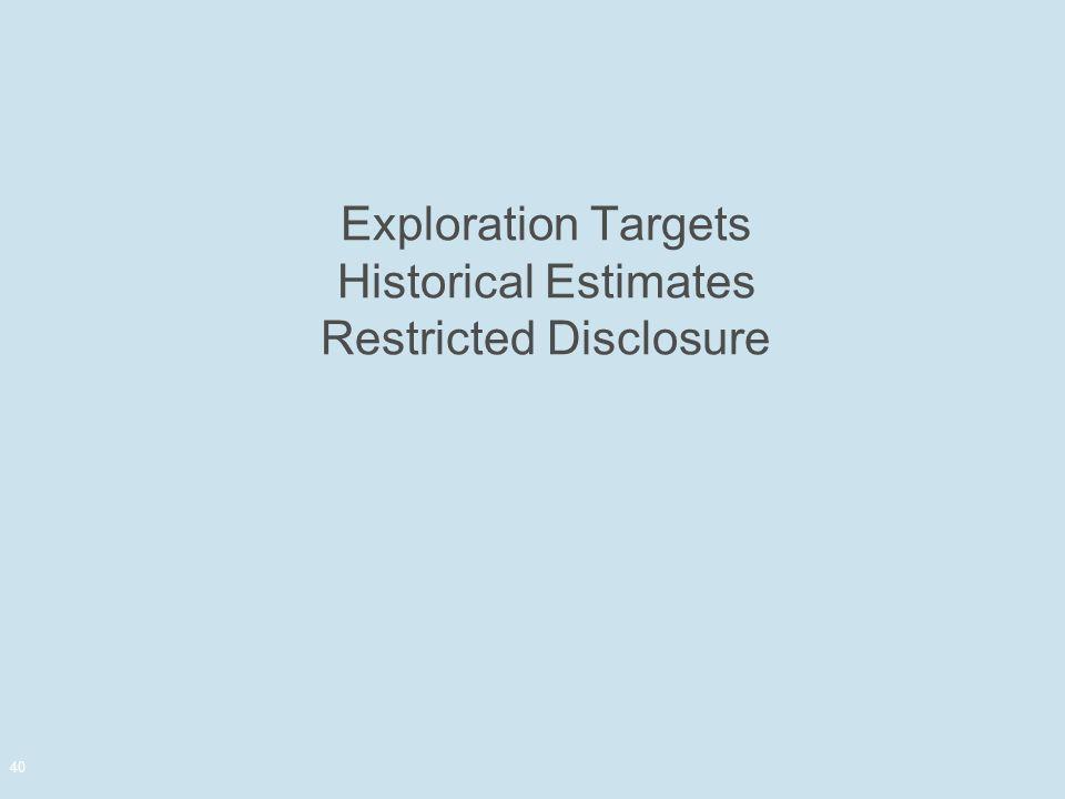 Exploration Targets Historical Estimates Restricted Disclosure 40