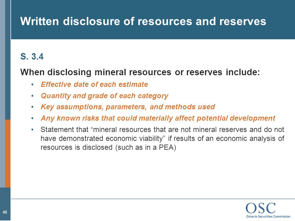 Written disclosure of resources and reserves S.