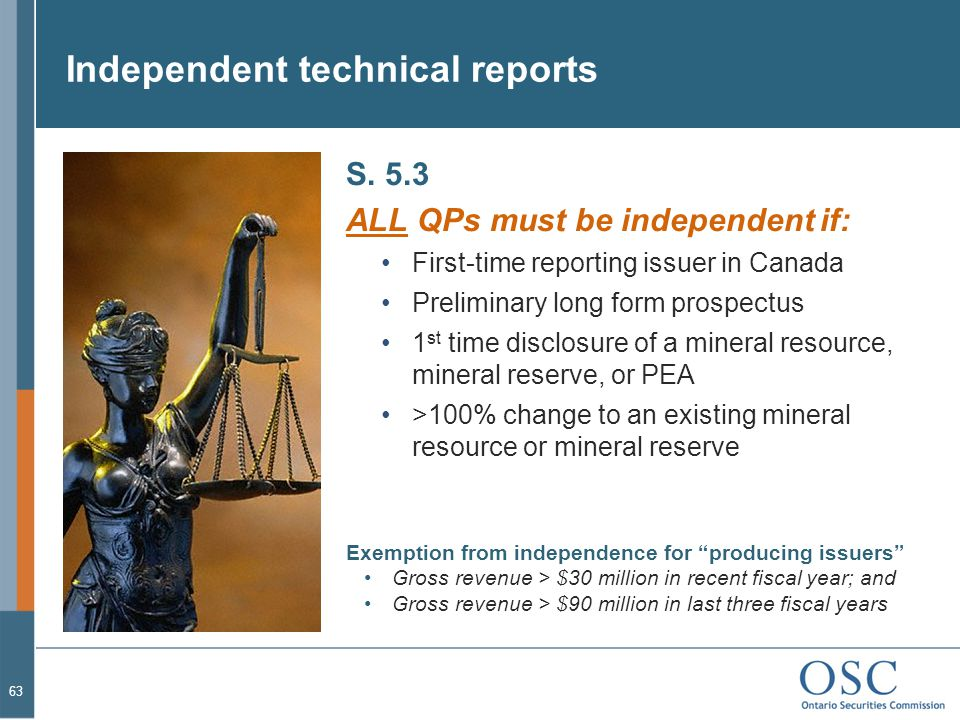 Independent technical reports S.