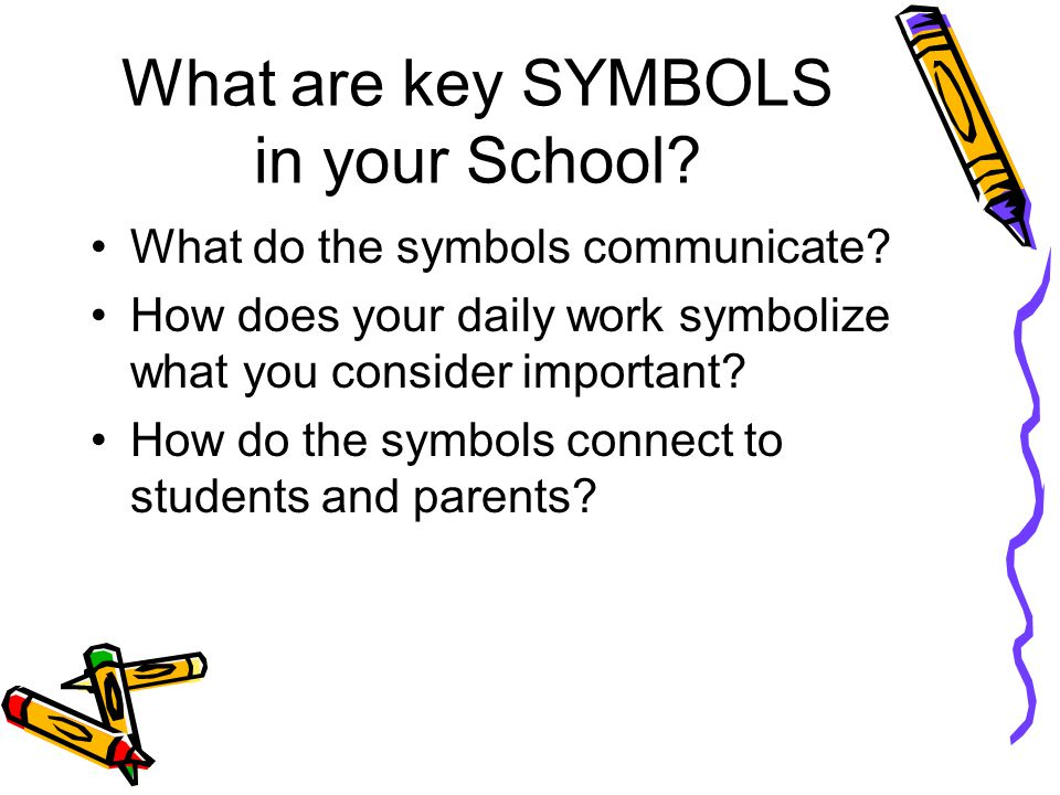 Symbols and Artifacts in the School Communicate values Reinforce culture Build success through commitment Symbolize the mission
