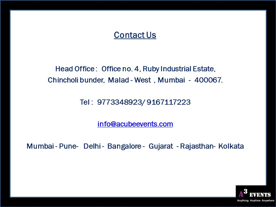 Contact Us Head Office : Office no.
