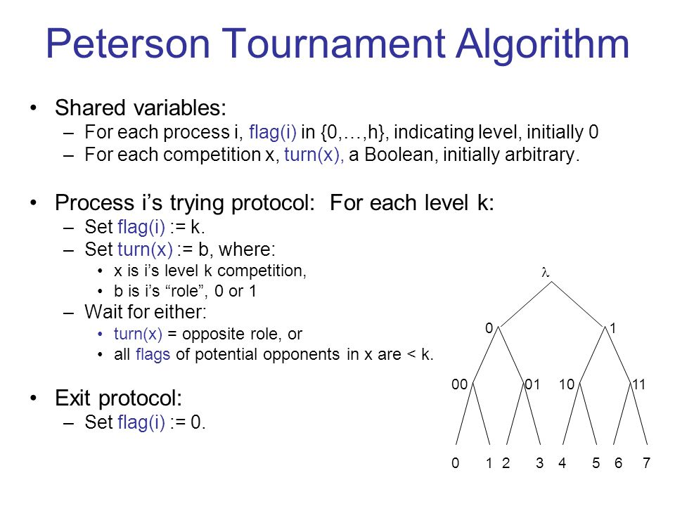 Peterson Tournament Algorithm Shared variables: –For each process i, flag(i) in {0,…,h}, indicating level, initially 0 –For each competition x, turn(x