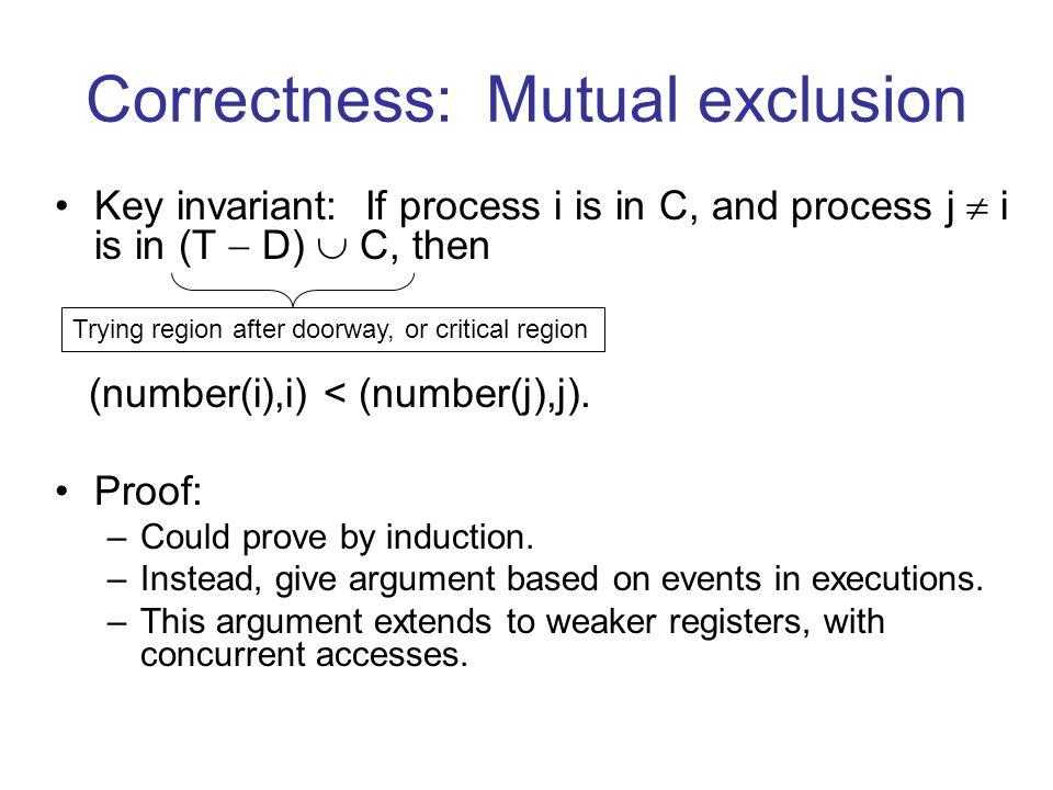 Correctness: Mutual exclusion Key invariant: If process i is in C, and process j  i is in (T  D)  C, then (number(i),i) < (number(j),j).