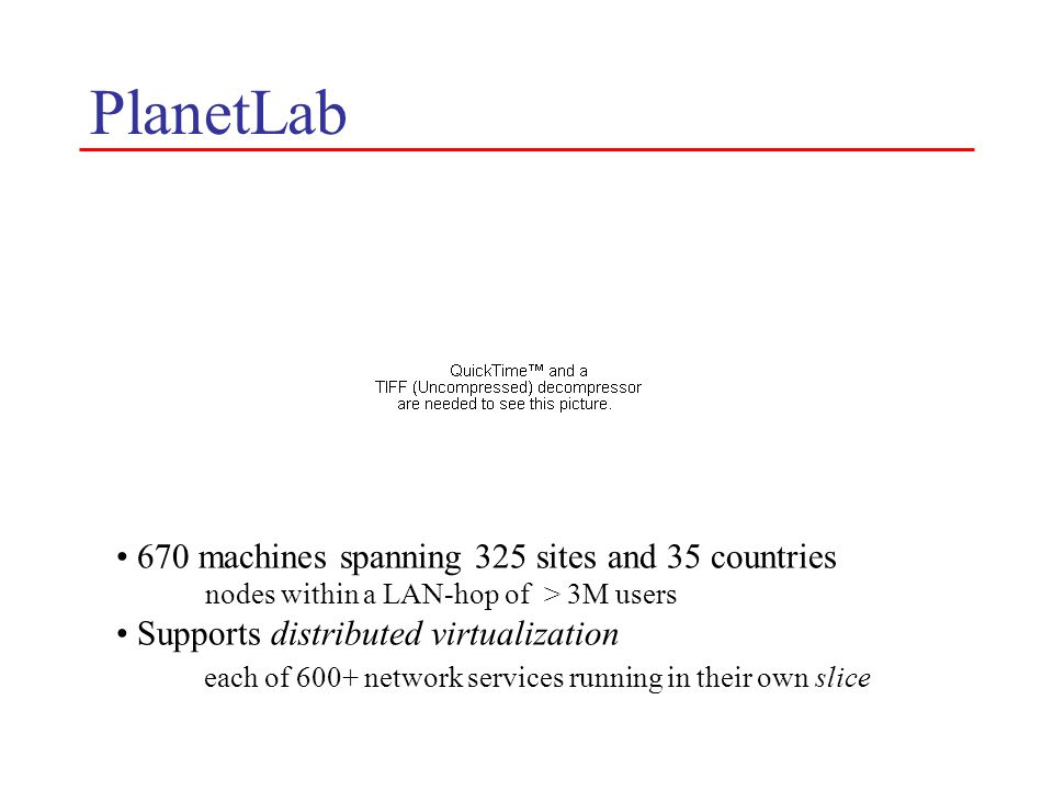 Two Views of PlanetLab Useful research instrument Prototype of a new network architecture What's interesting about this architecture.