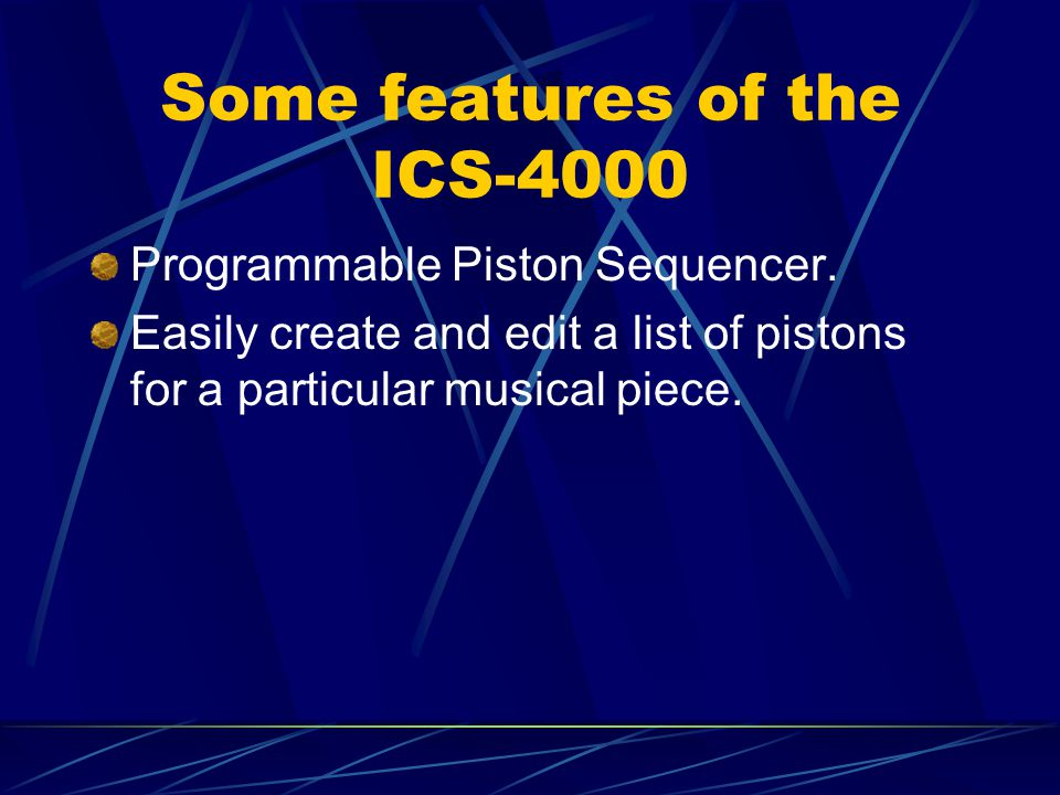 Some features of the ICS-4000 Programmable Piston Sequencer. Easily create and edit a list of pistons for a particular musical piece.