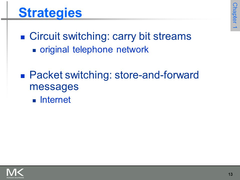 13 Chapter 1 Strategies Circuit switching: carry bit streams original telephone network Packet switching: store-and-forward messages Internet