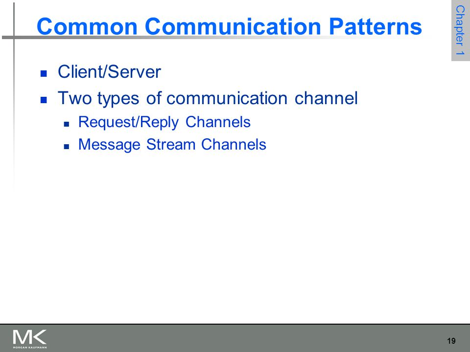 19 Chapter 1 Common Communication Patterns Client/Server Two types of communication channel Request/Reply Channels Message Stream Channels