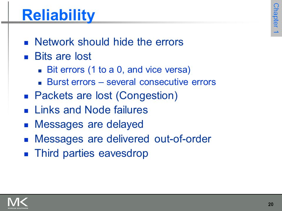 20 Chapter 1 Reliability Network should hide the errors Bits are lost Bit errors (1 to a 0, and vice versa) Burst errors – several consecutive errors Packets are lost (Congestion) Links and Node failures Messages are delayed Messages are delivered out-of-order Third parties eavesdrop