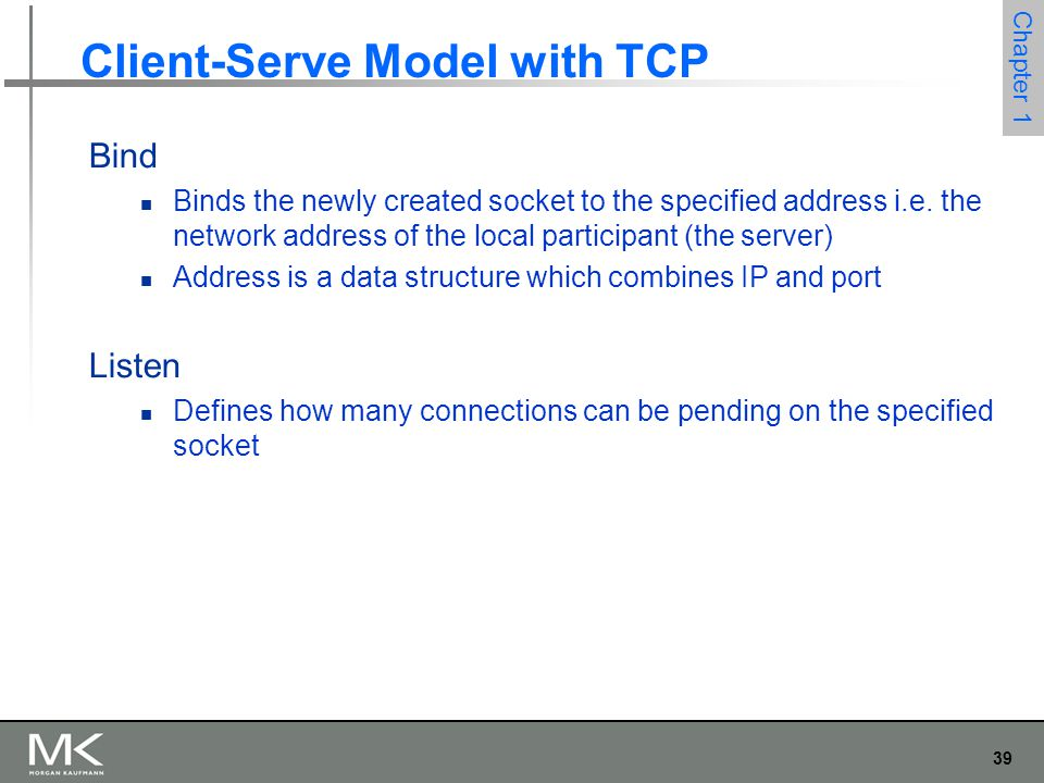 39 Chapter 1 Client-Serve Model with TCP Bind Binds the newly created socket to the specified address i.e.