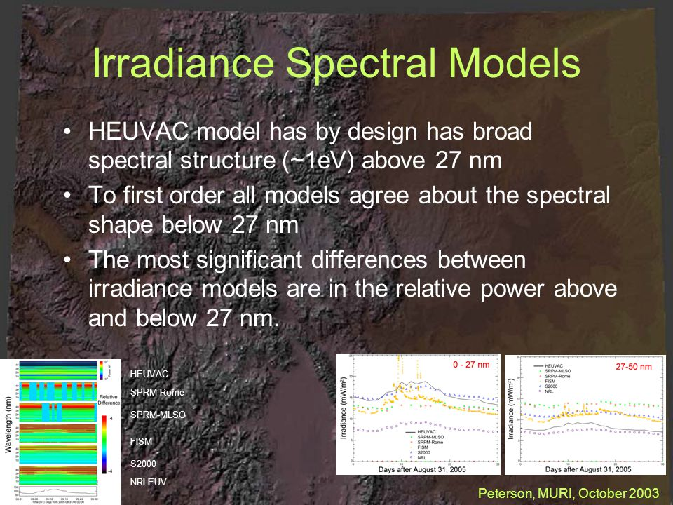 Irradiance Spectral Models HEUVAC model has by design has broad spectral structure (~1eV) above 27 nm To first order all models agree about the spectral shape below 27 nm The most significant differences between irradiance models are in the relative power above and below 27 nm.