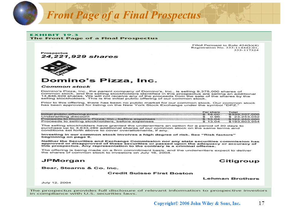 Copyright© 2006 John Wiley & Sons, Inc.17 Front Page of a Final Prospectus