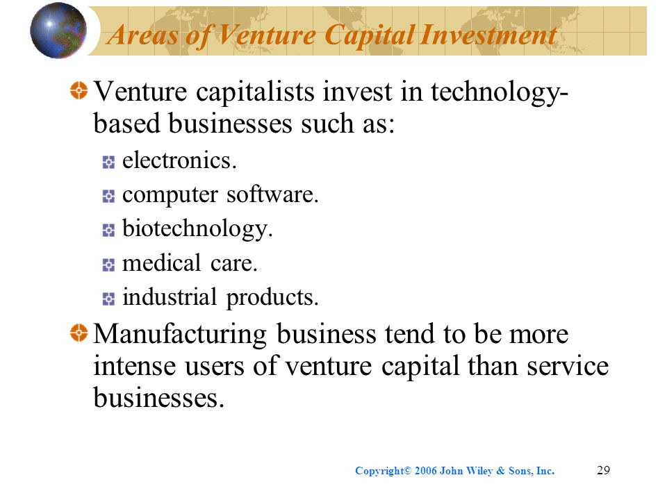 Copyright© 2006 John Wiley & Sons, Inc.29 Areas of Venture Capital Investment Venture capitalists invest in technology- based businesses such as: electronics.