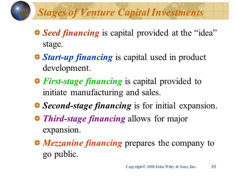 """Copyright© 2006 John Wiley & Sons, Inc.30 Stages of Venture Capital Investments Seed financing is capital provided at the """"idea"""" stage. Start-up finan"""