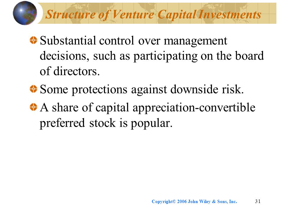 Copyright© 2006 John Wiley & Sons, Inc.31 Structure of Venture Capital Investments Substantial control over management decisions, such as participatin