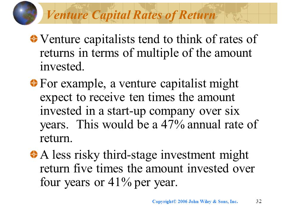 Copyright© 2006 John Wiley & Sons, Inc.32 Venture Capital Rates of Return Venture capitalists tend to think of rates of returns in terms of multiple of the amount invested.
