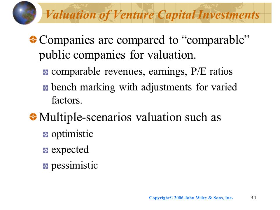 Copyright© 2006 John Wiley & Sons, Inc.34 Valuation of Venture Capital Investments Companies are compared to comparable public companies for valuation.